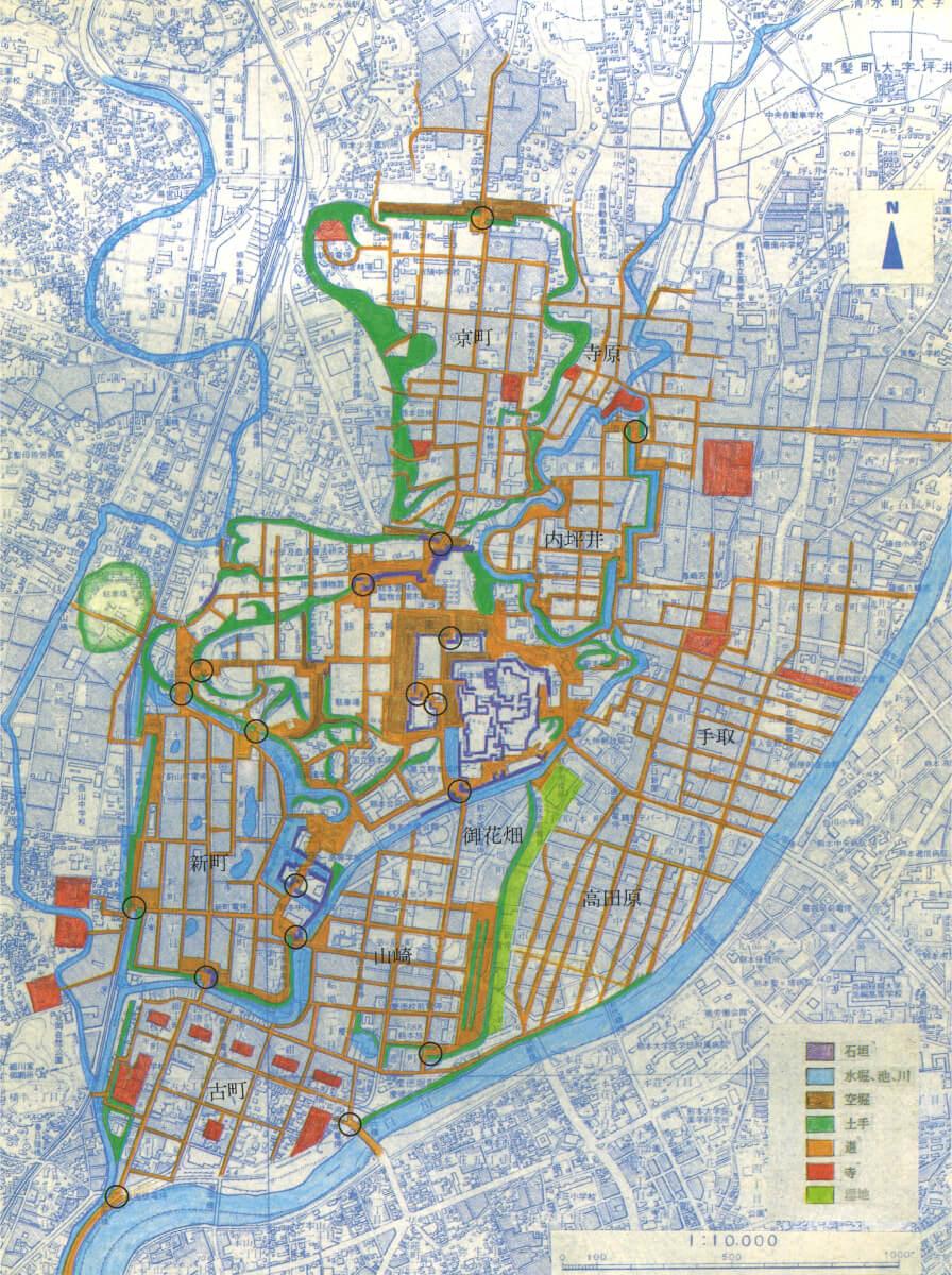 歴史回廊都市くまもと_現在の地図に古絵図(寛永8、9年)を重ねた図